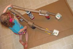 Marble Fun Run w/Recycled Paper Cores, Milk Cartons...etc.--great rainy-day craft!