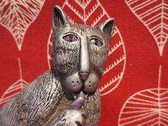 "MARSHA MCCARTHY Kitty Cat ""Shhhh"" WHIMSICAL CAT FIGURINE 6"" tall"
