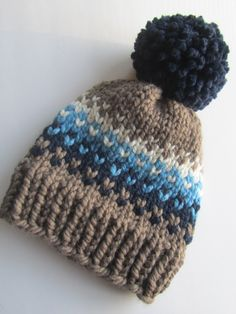 Brown and Blue Fair Isle Knit Hat, Fair Isle Hat, Knit Hat, Women's Knit Hat, Men's Knit Hat, Hand Knit Hat, Knit Hat, Chunky Knit Hat by UpNorthKnits on Etsy https://www.etsy.com/listing/291086253/brown-and-blue-fair-isle-knit-hat-fair
