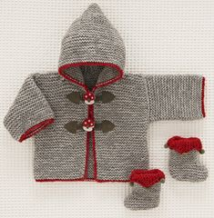 Discover thousands of images about Le duffle-coat Champignons de Beauchamp Baby Knitting Patterns, Baby Cardigan Knitting Pattern, Knitted Baby Cardigan, Knitted Baby Clothes, Coat Patterns, Knitting For Kids, Crochet For Kids, Free Knitting, Crochet Baby