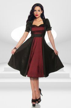 1-2-3-modewelt.de - Rockabilly Kleid schwarz/burgund