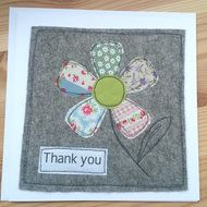 """Handmade thank you card perfect for teachers at the end of the school year. Hand stitched in fabric and felt. Can be made with or without buttons and in your choice of colours. 7"""" x 7"""" card with envelope FREE POSTAGE WITHIN THE UK"""