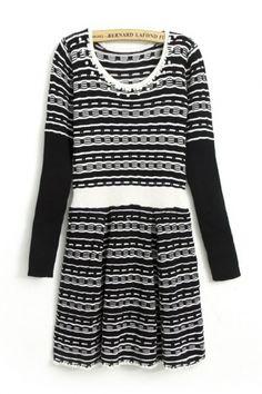 Pearl Embellishment Stripe Print Girdling Long Sleeve Dress