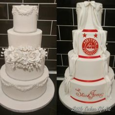 Aberdeen FC wedding cake by Little Cakes Of Art - http://cakesdecor.com/cakes/288721-aberdeen-fc-wedding-cake