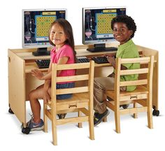 Double Children's Desk w/ Wheels, Height Adjustable Shelf, Rectangle – Natural