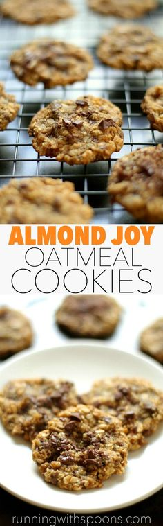 Almond Joy Oatmeal Cookies--almond flour, coconut and chocolate in a soft and chewy gluten-free oatmeal cookie--melt-in-your-mouth awesome right here! This is a dessert you can feel good about. Healthy Baking, Healthy Desserts, Healthy Cookies, Easy Desserts, Delicious Desserts, Healthy Recipes, Baking Recipes, Cookie Recipes, Dessert Recipes