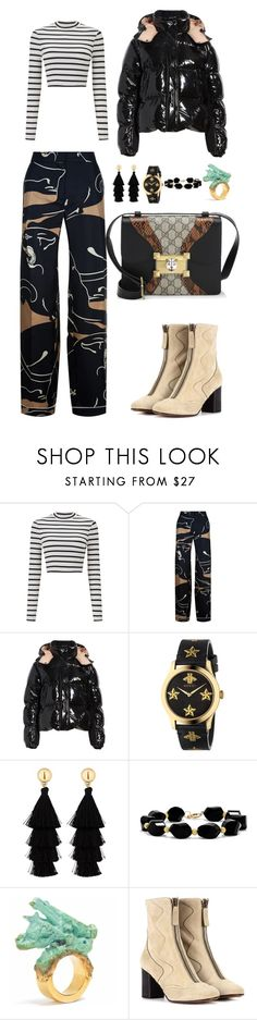 """""""Untitled #4119"""" by fashionhypedaily ❤ liked on Polyvore featuring Miss Selfridge, Valentino, Moncler, Gucci, Red Herring, Effy Jewelry and Chloé"""
