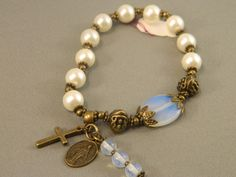 Rosary Bracelet Victorian Style White Glass Pearls and Moonstone Stretchable Bracelet