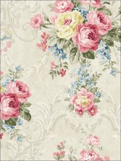 1 Sheet Rice paper for decoupage, or wall decoration. Decoupage Vintage, Vintage Diy, Vintage Paper, Vintage Flowers, Vintage Floral, Blue Flowers, Damask Wallpaper, Print Wallpaper, Wallpaper Borders