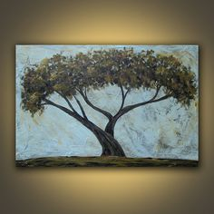 cypress tree acrylic painting