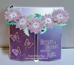 Gift card by Mags. Daisy decoupage stamp set, vellum.