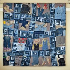 """OLD DENIM SQUARE by Noriko Nozawa. See it in the """"Quilts: A World of Beauty"""" exhibit at spring #QuiltMarket in St. Louis! #Embellished"""