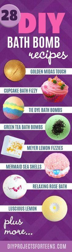 Homemade DIY Bath Bombs   Bath Bombs Tutorial and Recipes Like Lush   Pretty and…