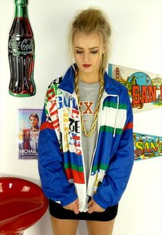 Vintage 90's Bright Shell Tracksuit Jacket Sports Top