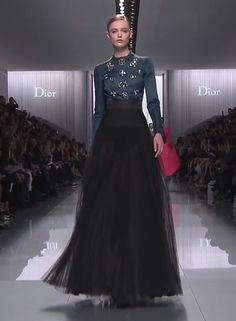 Love this full black sheer skirt and deep teal oversized embellished blouse from @dior #pfw