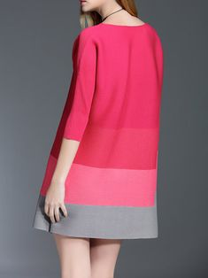 Red A-line 3/4 Sleeve Ribbed Crew Neck Mini Dress