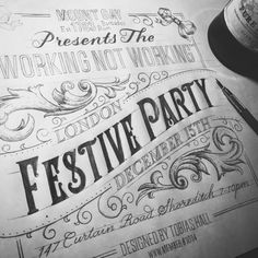 Bespoke hand lettering for the Working Not Working Festive Party
