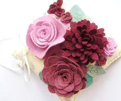 Flower Wedding Ring Bearer Pillow Wool Felt Pink Plum by HeyMiemie