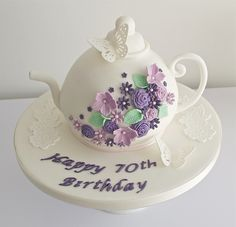 A wedding cake with sugar pearls and aubergine coloured flowers to match the bridesmaids dresses. Based on a design I originally created for Cake Central Magazine. 70th Birthday Cake, Birthday Cakes For Women, Birthday Ideas, Fondant Cakes, Cupcake Cakes, Wedding Cake Pearls, Teapot Cake, Tea Party Theme, Different Cakes