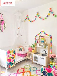 Toddler girl bedroom Before and After: A Colorful Shared Girls' Room Rainbow Bedroom, Rainbow Girls Rooms, Colorful Girls Room, Rainbow Room Kids, Fantasy Bedroom, Kids Room Design, Girls Bedroom, Childs Bedroom, Lego Bedroom