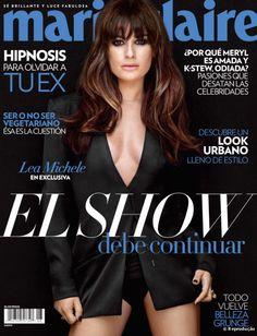 Os cabelos castanhos e com franja reta de Lea Michele para a Marie Claire mexicana