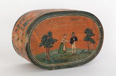 """Continental painted bentwood bride's box, early 19th c., 6 3/4"""" h., 18"""" w."""