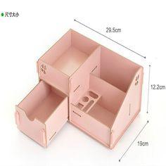 Diy caixa de madeira de armazenamento organizador para diversos maquiagem de um único para com azul em Ciaxas de armazenamento & lixo de Casa & jardim no AliExpress.com   Alibaba Group