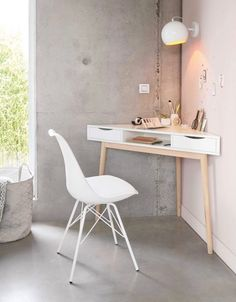 The Basic Facts Of White Desk Bedroom Small Spaces 00012 - beterhome White Corner Desk, Small Corner Desk, Small White Desk, Corner Vanity, Modern Corner Desk, Corner Space, Small Home Offices, Desks For Small Spaces, Desk In Small Space