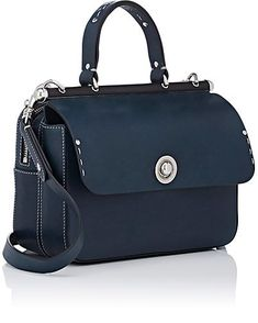 Ghurka Tilbury Small Crossbody Satchel - Shoulder Bags - Crafted of dark blue smooth leather, Ghurka's Tilbury small crossbody satchel is detailed with a black wooden topline.