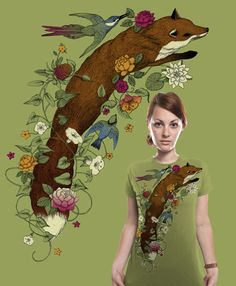 Cool fox t-shirt featuring art of Lindsey Carr, seen on Society6 and Threadless. So cool and different!