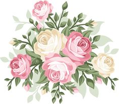 Illustration of illustration of vintage roses vector art, clipart and stock vectors. Art Floral, Floral Wall, Elegant Flowers, Amazing Flowers, Vintage Flowers, Vintage Floral, Vintage Rosen, Vintage Diy, Bouquet Images