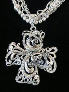 Cowgirl Bling CROSS Western Silver Scroll Gypsy Christian Necklace Set Rhinestones .99 auction!  our prices are WAY BELOW RETAIL! all JEWELRY SHIPS FREE! www.baharanchwesternwear.com baha ranch western wear ebay seller id soloedition