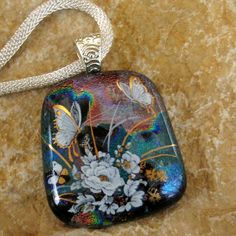 Dichroic Fused Glass Pendant MultiColored Dichroic by GlassCat, $30.00