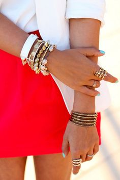 Complement bright colors with white and gold stacking bracelets.