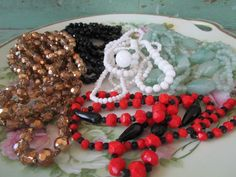 Vintage lot Art Deco Long Glass beaded necklaces Lot of 5 Black red green white by Holliezhobbiez on Etsy