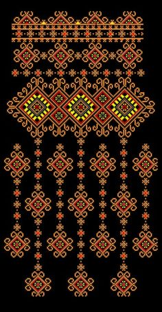 Beading _ Pattern - Motif / Earrings / Band ___ Square Sttich or Bead Loomwork ___ Embroidery Suits Design, Hand Embroidery Designs, Embroidery Patterns, Cross Stitch Borders, Cross Stitch Designs, Cross Stitching, Folk Embroidery, Cross Stitch Embroidery, Beading Patterns
