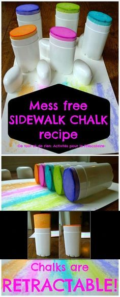 Put sidewalk chalk in deodorant containers for easy storage and no more mess. + 19 Child Care Hacks That Will Make Being A First-time Parent A Breeze.