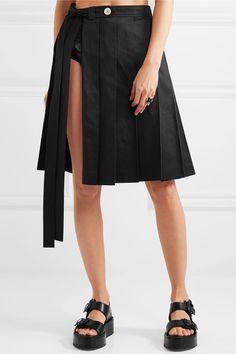 Miu Miu - Pleated Cotton Skirt - Black - IT42