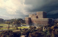 Zaha Hadid builds in wood – http://www.woodarchitecture.se/in-brief/organic-forms-conveys-dark-history #architecture in #wood