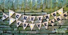 CHEERS TO 50 YEARS (or however many years you would like!)  This is a fun birthday burlap banner, perfect for the wine or beer lovers special birthday! You can re-use it over and over again and the CHEERS portion can be hung over your bar or at cook-outs in the future.  You will receive pints of beer unless you specify in notes to seller that you prefer something else. I can offer you wine, martinis, hearts, flowers, butterflies, champagne glasses - anything really. MEASUREMENTS Each pennant…