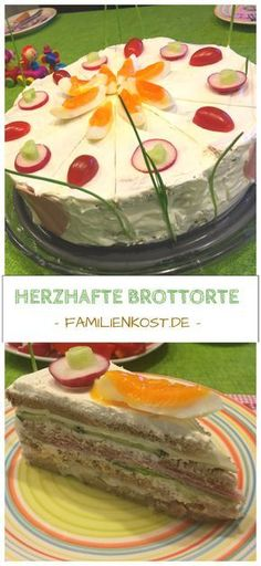 Brottorte mit Frischkäse: Rezept für herzhafte Torte Recipe and instructions for a hearty bread cake with cream cheese, ham, lettuce, cheese and egg, which is perfect for a birthday or any other occasion: www. Mexican Breakfast Recipes, Brunch Recipes, Meat Recipes, Mexican Food Recipes, Cake Recipes, Cream Cheese Recipes, Cake With Cream Cheese, Meat Appetizers, Appetizer Recipes