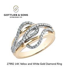 This classic two tone Diamond ring is elegantly intertwined in 14K Yellow and White Gold.  This ring features prong set round diamonds in a modern twist. Visit your local #GottliebandSons retailer and ask for style number 27992. http://www.gottlieb-sons.com/product/detail/27992