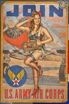 U.S. Army Air Corps Recruitment Poster! http://ift.tt/2jNpwa8  During World War II the US military combat planes were typically painted a drab camouflage without any use of markings of a personal nature.  It is believed that the Germans were the first to apply nose art by hand painting designs on their fighters and bombers.  They were formally authorized to use images and they were created so that it would be easy to tell the difference between their comrades aircraft and the enemys aircraft…