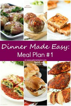 Dinner Made Easy: Meal Plan #1 - Do you hate meal planning? Are you struggling on deciding what to make for dinner tonight? These meal plans are for the entire week, Monday through Sunday.