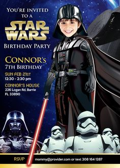 Turn your kid into a Darth Vader! Star Wars Invitation. Storm Troppers. Anakin Skywalker. Rogue One: A Star Wars Story. Star Wars Dark Side. Star Wars Birthday. #DarthVader #DarthVaderInvitation #DarkSideInvitation #RogueOne #StarWars #StarWarsInvitation #myheroathome