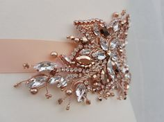 Rose gold bridal belt, Swarovski sash, rose gold sash, bridal belt, Swarovski rose gold, hand beaded belt, luxury bridal belt, wedding belt