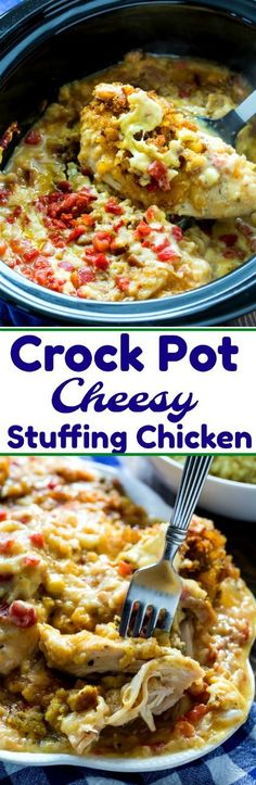 Crock Pot Cheesy Stuffing Chicken #chicken #crockpot #slowcookerrecipes #slowcooker