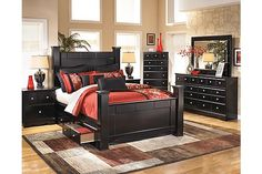 "The Shay Chest of Drawers from Ashley Furniture HomeStore (AFHS.com). The ""Shay"" bedroom collection brings together a rich dark finish with the sophisticated detailing to create furniture that is sure to awaken the decor of any bedroom with stylish contemporary flair."