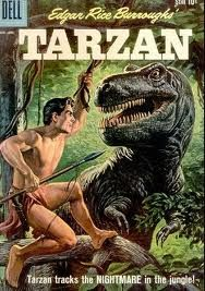 This great cover is by George Wilson. Dell (and later Gold Key, who took over publishing Dell's comic book line) didn't always give us the best interior art, but their painted covers were consistently breathtaking.   I know the T-Rex looks formidable, but my money is always on Tarzan.