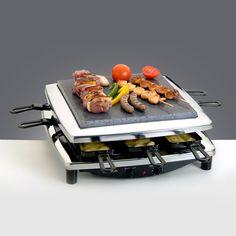Két sütőlap (kő+fém) 8 db raclette serpenyő Egyszerű tisztítás Megosztott sütőlap Megbízható minőség